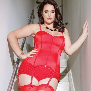 New Red zip Plus Size corset - Size 1x/2x
